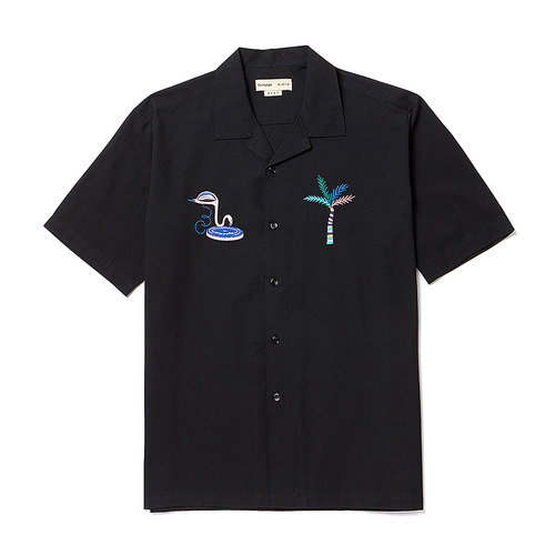 [COLLECTION LINE] TROPICAL LOGO OPEN COLLAR 1/2 SHIRT BLACK