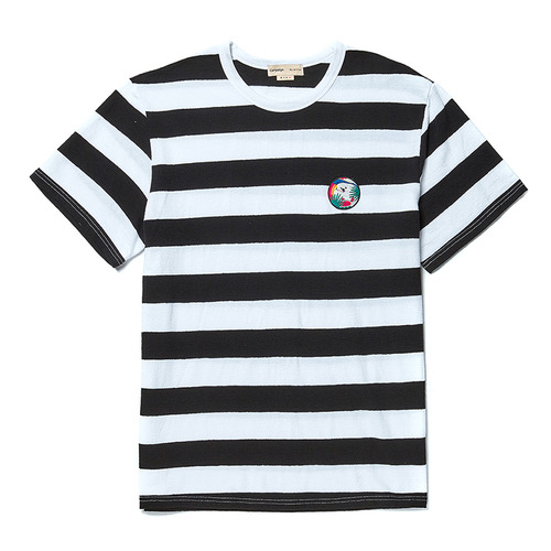 SUNSET DOG SUMMER STRIPE 1/2 T-SHIRT BLACK
