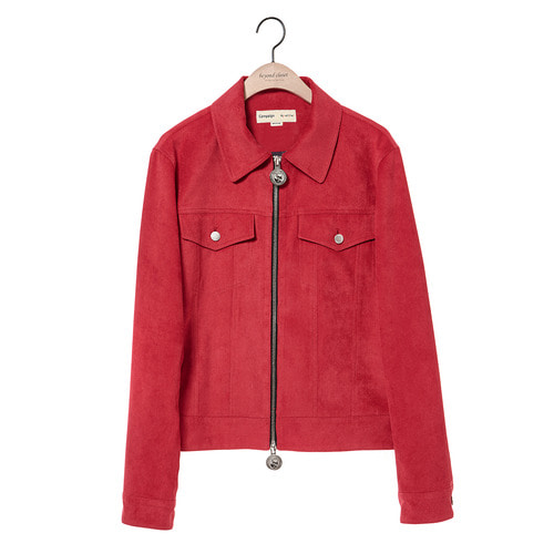 [COLLECTION LINE]MEDAL ZIPPER CORDUROY SHORT JACKET RED
