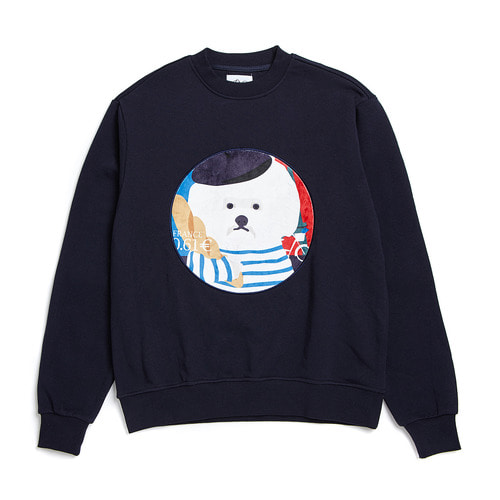 FRANCE DOG PATCH SWEAT-SHIRTS 2018VER NAVY