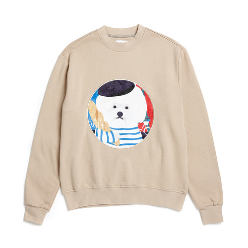 FRANCE DOG PATCH SWEAT-SHIRTS 2018VER BEIGE