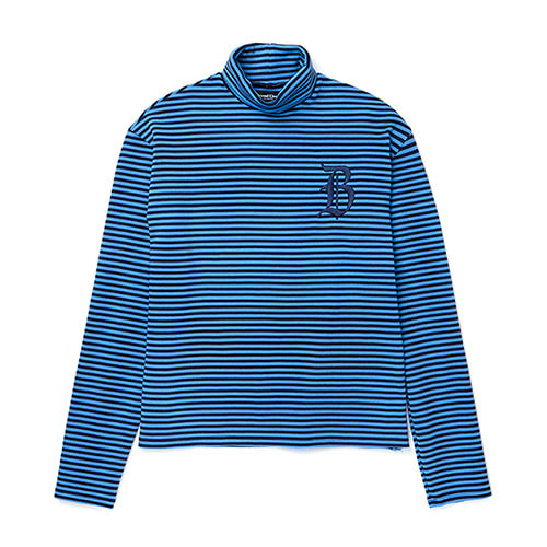 LOGO STRIPE TURTLE-NECK T-SHIRTS NAVY