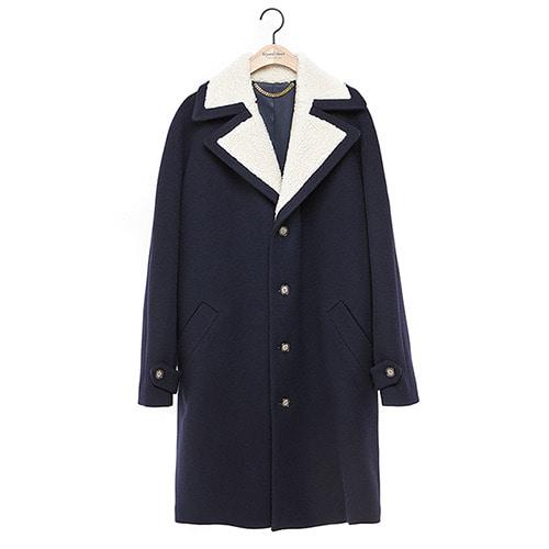 [COLLECTION LINE]FUR MIX MELTEN COAT NAVY
