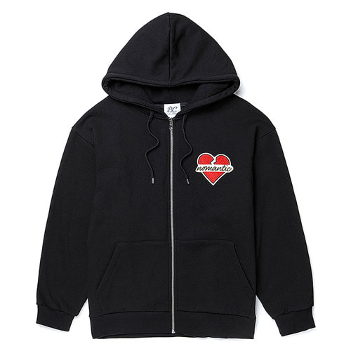 [기모] NOMANTIC WAPPEN HOOD ZIP-UP BLACK