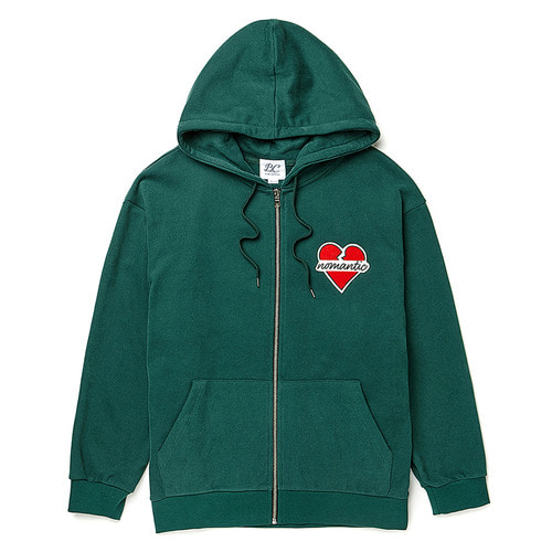 [기모] NOMANTIC WAPPEN HOOD ZIP-UP DEEP GREEN