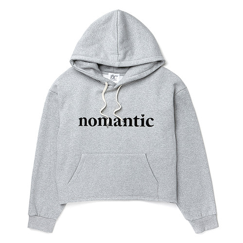 [기모] NOMANTIC TEXT LOGO CROPHOOD T-SHIRTS MELANGE GRAY