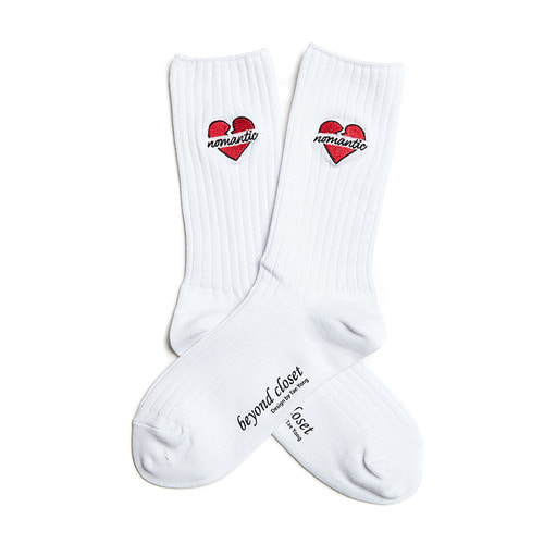 NOMANTIC HEART SOCKS WHITE
