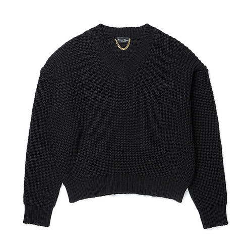 [COLLECTION LINE]HEAVY WEIGHT PULL OVER KNIT BLACK