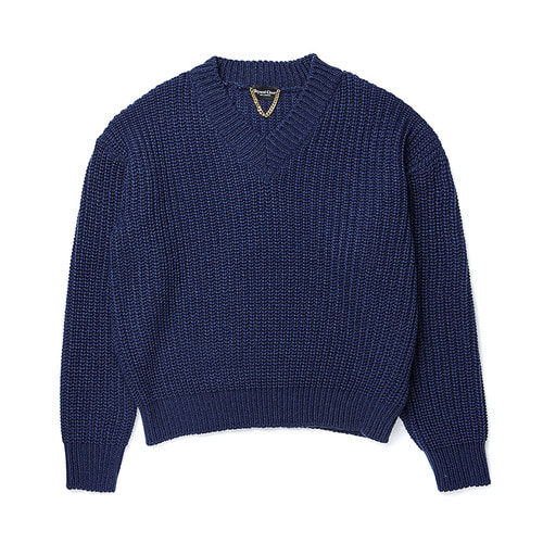 [COLLECTION LINE]HEAVY WEIGHT PULL OVER KNIT BLUE