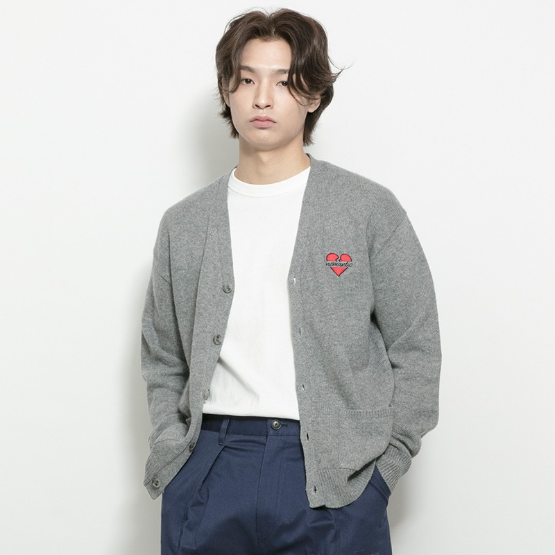 NOMANTIC LOGO KNIT WOOL CARDIGAN GRAY